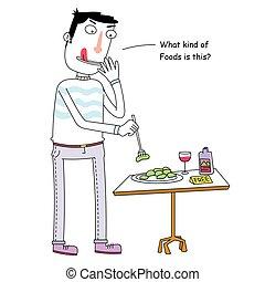 Curious Man Eating Free Food