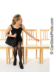 Curious office lady - Curious young lady getting up from a...