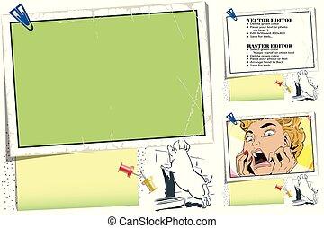 Curious pig. Frame for scrapbook, banner, sticker, social network.