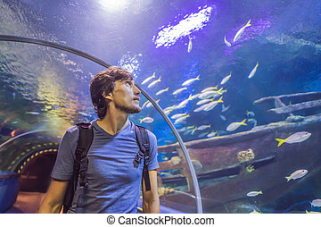 curious tourist watching with interest on shark in oceanarium tunnel
