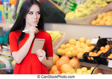 Curious Woman in The Supermarket