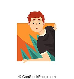 Curious Young Man Looking Out Square Shape Cartoon Vector Illustration