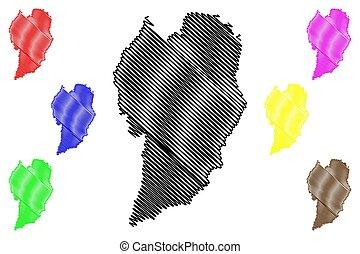Curitiba City (Federative Republic of Brazil, Parana State) map vector illustration, scribble sketch City of Curitiba map