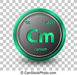 Curiumchemical element. Chemical symbol with atomic number and atomic mass.