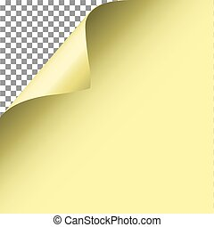 Curl corner page vector. Yellow paper.