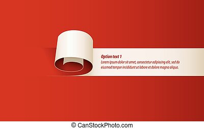 Curl of red paper. Set of infographics elements in the form of paper tape for various purposes. Vector illustration