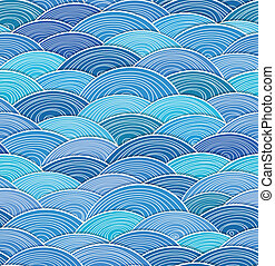 curled abstract blue waves - Seamless background of curled...