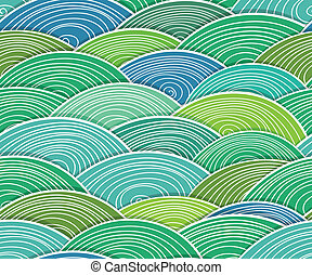 curled abstract green waves