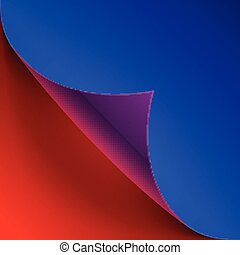 Curled colorful blue and red paper page corner with realistic sh
