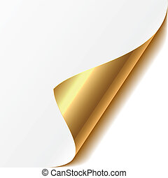 Easy editable vector illustration of a gold curled corner