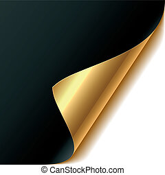 Curled corner - Easy editable vector illustration of a gold ...