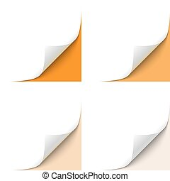 Curled Corner - Curled White Paper Corner with Orange...