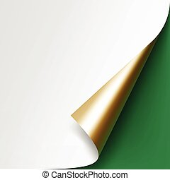 Curled corner of White paper on Green Background