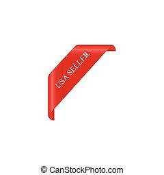 curled corner, USA seller, vector illustration