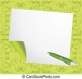 Curled page and ballpen on the decorative green background. ...