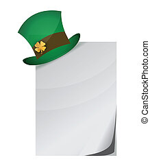 Curled page and St. Patrick's Day hat with clover
