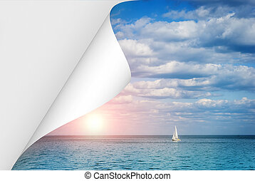 curled page with a picture of the sea at sunset and a lonely boat