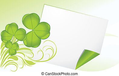 Curled page with clover. Banner - Curled page with clover....