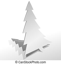 Curled paper Christmas tree cut from sheet of paper vector illustration.