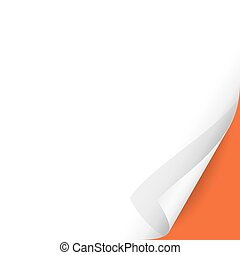 Curled Paper Corner with Orange Background