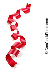 Curled red holiday ribbon strip isolated on white background