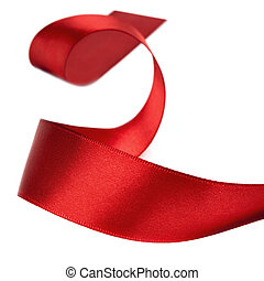 Curled Red Ribbon over White