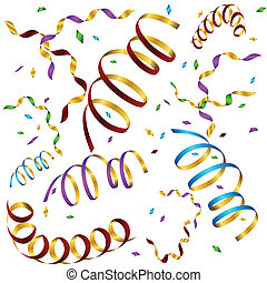 Curled Ribbon Confetti Background - An image of falling...