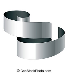 Curled ribbon - Vector illustration of a curled ribbon. Add...