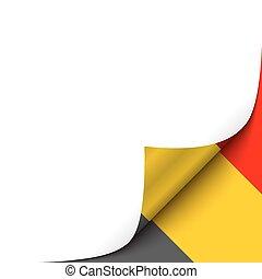 Curled up Paper Corner on Belgian Flag Background.Vector Illustration