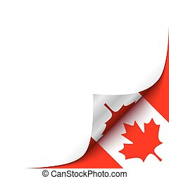 Curled up Paper Corner on Canadian Flag Background.Vector...