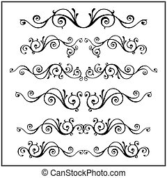 Curled Victorian calligraphic design frame elements. Vector set.