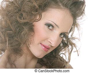 Curled woman closeup photo