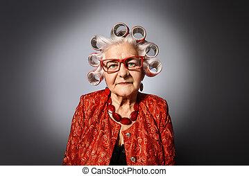 curlers, grand-maman