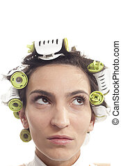 curles, pelo, mujer, ella, serio