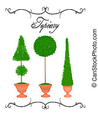 curlicue, typographie, main, trois, topiaries, dessiné, topiary, frontière