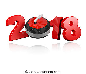 Curling 2018 Design with a white Background