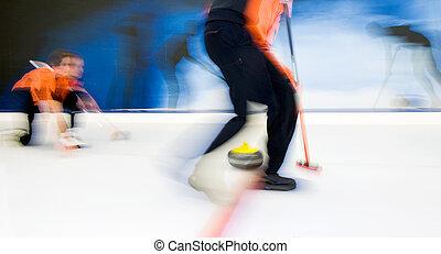 curling, entregar, piedra