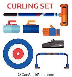 Curling Equipment Set - Winter curling sport equipment set...
