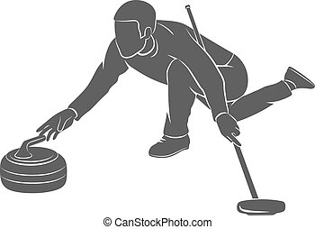 Curling game sport - The game of curling on a white ...
