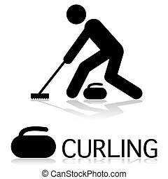 Curling icon - Icon showing a person curling as well as a...