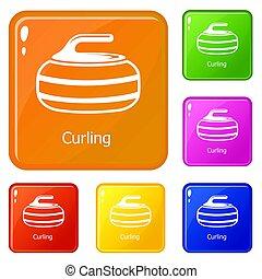 Curling icons set color