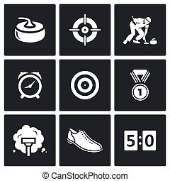 Curling icons set. Vector Illustration