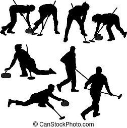 curling, jogo, silueta