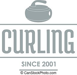 Curling logo, simple gray style