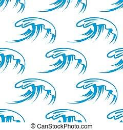 curling, mar, ondas, seamless, patrón