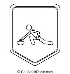curling, pictograma, emblema, escudo, ícone