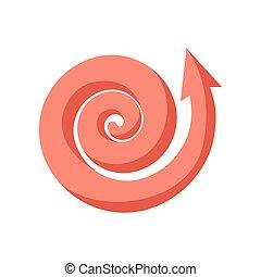 Curling pink arrow cartoon icon