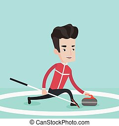 Curling player playing curling on curling rink.