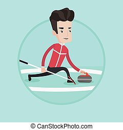 Curling player playing on rink.