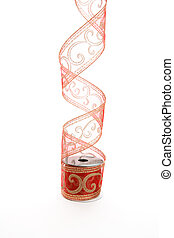 Curling red gold ribbon